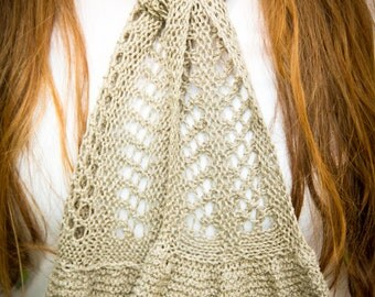 Summertime Scarfette - Lightweight Scarf - PDF knitting pattern - knitted fingering weight lace scarf