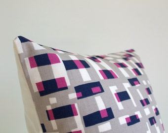 Pillow Cover, Decorative Cushion Cover, 18x18 Pillow Sham, 18 Inch Sofa Pillow, Pillowcase, Decorative Pillows - Graphic Blocks Wild Orchid