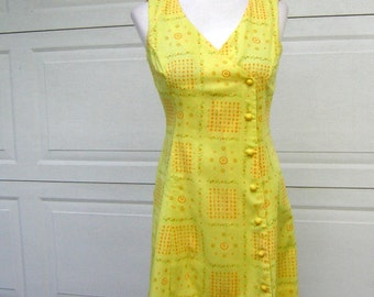 Yellow Scooter Dress Happy Print Asymmetrical Dome Button Closure - Vintage 60s 70s Sweet & Cool for Summer - S M
