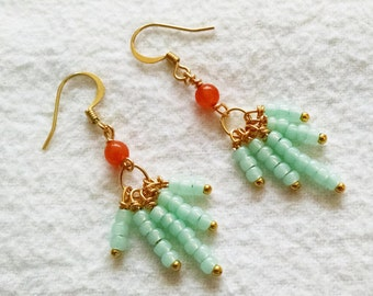 Crystal and Aventurine Dangle Earrings - TRIBECCA