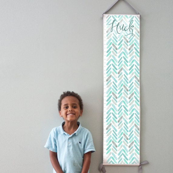 Custom/ Personalized Blue and Turquoise Watercolor Chevron Growth Chart - Perfect for baby boy nursery or big boy room