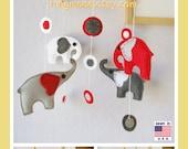 Baby Mobile, Nursery Mobile, Modern Hanging Mobile, Elephants Mobile, Grey Red White modern circles, Custom Mobile