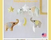 Baby Crib Mobile, Nursery Mobile, Elephant Mobile, Moon Star Mobile, Neutral Mobile, Sage Green Tan Gray, Match Bedding Mobile