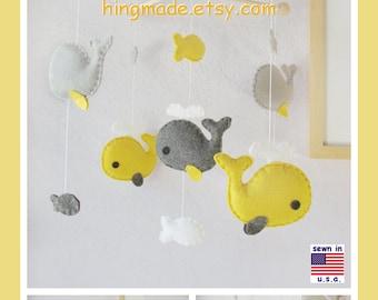 Baby Mobile, Baby Crib Mobile, Whale Mobile, Nursery Decor, Ceiling Hanging Mobile - Mustard Yellow Gray Smoke