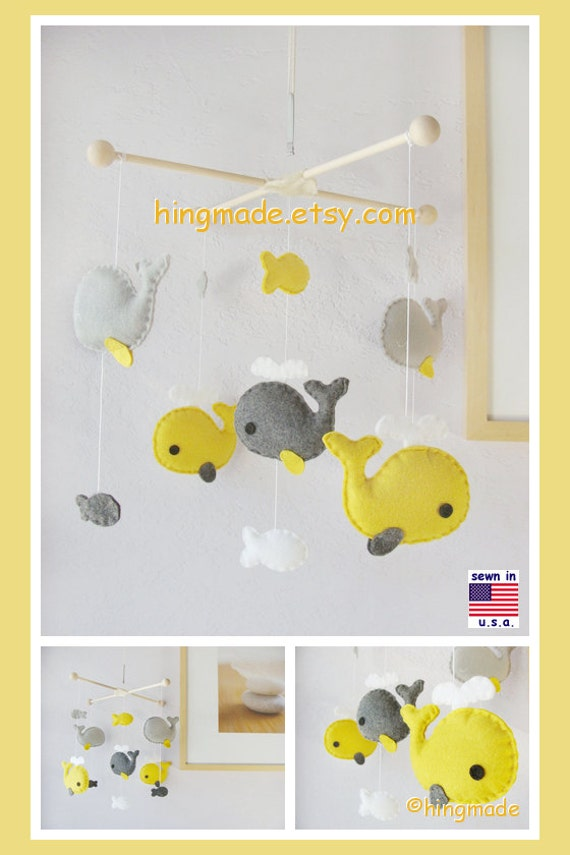 Baby Mobile Baby Crib Mobile Whale Mobile Nursery By Hingmade