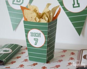 Football Mini Popcorn Box - Football Birthday Party - Party Favor - Printable - DIY - Personalized // FOO-03