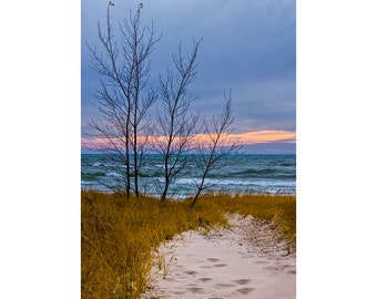 Dune at Sunset with Beach Sand on the Lakeshore of Lake Michigan by Holland Michigan No.0019 A Vertical Fine Art Seascape Nature Photograph
