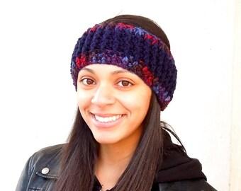 Sale, Crochet Headband, Earwarmer, Navy Blue, Women, Men, Teen, Ready To Ship
