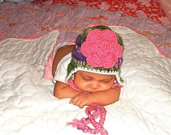 Baby Girl Hat, Baby Ear Flap Hat, Hat With Flower, Newborn, Crochet, Pink, Multicolor