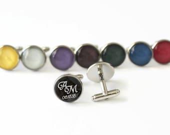 Initials and Custom Date Cuff Links Anniversary Gift Men Accessory Handmade Personalized Cufflinks Couple Initials Timeless Keepsake Cuffs