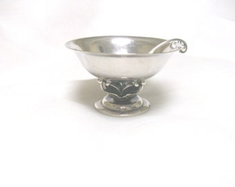 Free US Ship Georg Jensen Sterling Silver Salt Cellar & Spoon /