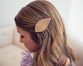 Feather/Leaf Hair Clip - Laser Cut Alder Wood