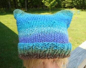 Blue Cat Ear Hat. Knit Animal Ear Hat. Winter Beanie. Halloween. Anime. Festivals. School.