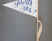 "Marry Me? Proposal Sign | Script | Made To Order Banner | Large 11"" x 16"" Paper Wood Dowel Propose Flag Engagement Modern Script 1099"