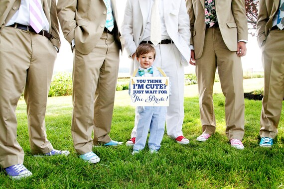 """Wedding Sign Cute Niece Nephew """"You Think I'm Cute? Just Wait for The Bride"""" Flower Girl Ring Bearer Banner Handmade USA Paper Graphic 1183"""