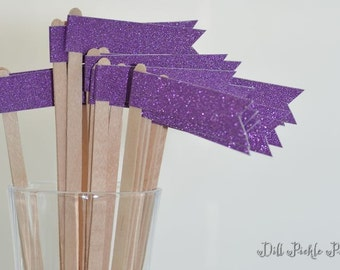 25 Purple Plum Glitter Paper Flag Stir Sticks or Drink Stirrers