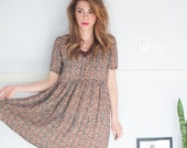 sheer print boho dress, hemmed, small-medium