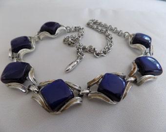 Vintage necklace, 1950's retro royal blue lucite choker necklace, Coro,Trifari style necklace