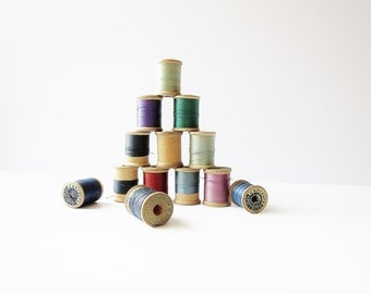 Colorful Vintage Wooden Spools Of Thread - Richardsons And Canton Silk Thread - Richardsons Mercerized Cotton Thread - J P Coats Cotton