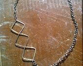 Geometric Necklace, black metal chain
