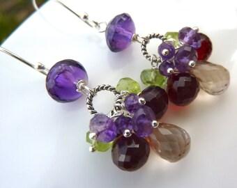 Woodland Cluster Earrings. Purple Amethyst, Red Garnet, Green Peridot, and Cognac Quartz.