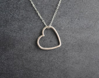Silver Heart Outline Necklace