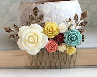 Rustic Bridal Hair Comb Floral Hair Slide Bridal Hair Piece Aqua Teal Coral Wedding Romantic Mustard Flower Hairpiece Woodland Jewel Tones