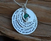 Three Discs & Birthstone Necklace - Personalized - Sterling Silver - Graduation, Friendship, Sisters, Christmas, Mom, Grandma Necklace