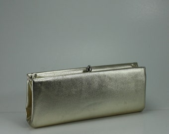 Vintage 60s Gold Lame' Clutch Purse Handbag Hidden Chain Handle