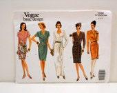 Vogue Basic Design Pattern 1039, Size 8-12 Un Cut, Misses Mock Wrap Dress, Tailoring Supplies