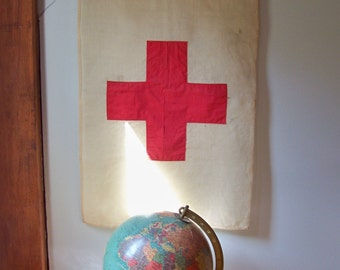 Vintage WWII Linen Red Cross Flag - Double Sided