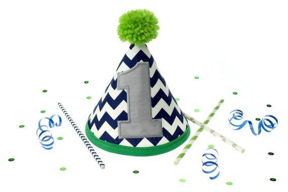 Navy Chevron, Grey and Green Fabric Cake Smash Birthday Hat