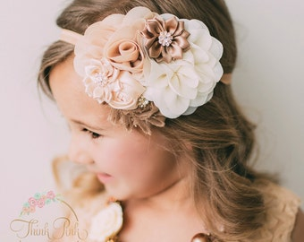 Baby headband,flower girl headband, baby headbands, girls headband,newborn headband,Ivory headband,flower headband, Shabby chic headband.