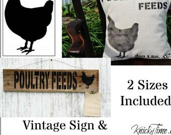 Farmhouse Chicken Shape Sign Stencil - 2 Pack Add On