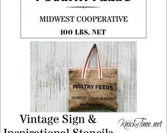 Farmhouse Feed Bag Sign Stencil