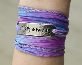 Defy Gravity, Wrap Bracelet, Inspirational Quotes, Boho Jewelry, Custom Stamped, Bohemian Jewelry, Hand Stamped Jewelry,