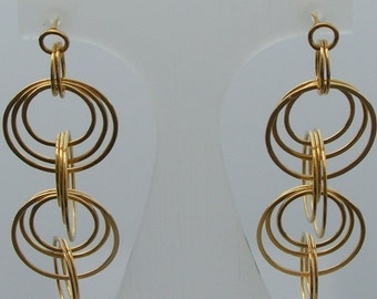 "3D ""Mobile"" gold plated Earrings"