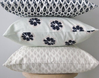 Mint Green, Navy, Taupe Floral / Flame Stitch  Pillow Covers / Nate Berkus  Fully Lined** Priced Per Cover**