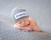 Crochet Baby Personalized Name Cross Stitch Beanie - Newborn to 3 months - Heather Grey - MADE TO ORDER