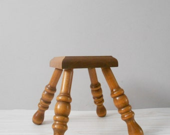 vintage carved wooden plant stand / stepping stool