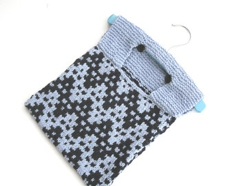 Knitted Cotton Peg Bag in blue
