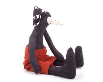 Penguin doll  , stuffed toy , black bird doll , art soft toy bird , modern nursery decor , huggable toy , Plushie Softie doll , Easter gift