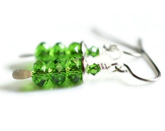 Green Swarovski Earrings, Fern Green Earrings, Surgical Steel Earrings, Bright Green Crystal Earrings, Spring Earrings, Rondelle Earrings