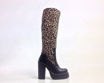 90's Destroy Fuzzy Leopard and Black Leather Chunky High Heel Knee Boots // 5.5-6