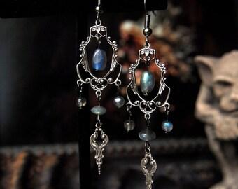 Bewitched Era Silver Labradorite Chandelier Earrings