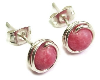Rhodochrosite and Sterling Silver Post Earrings