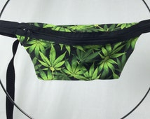 Green Weed Leaf / Mary Jane Fanny Pack / Fun Hip Bag / Adjustable Strap Handmade by GAG THREADS