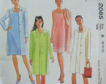 McCalls 2085 Women's 90s Sleeveless Dress Square Neckline and Lined Jacket Sewing Pattern Bust 35 36 37.5