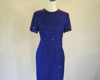 Blue Purple Beaded Wiggle Dress Glam