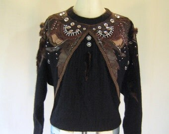 EREZ Leather Snakeskin Mink Applique Batwing Sweater Top